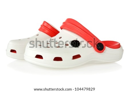 rubber sandals with reflection on white background