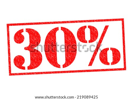 30% Rubber Stamp over a white background. - stock photo
