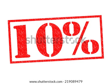 10% Rubber Stamp over a white background. - stock photo