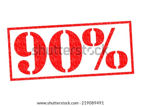 90% Rubber Stamp over a white background. - stock photo