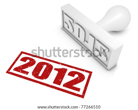 2012 rubber stamp. Part of a series of stamp concepts. - stock photo