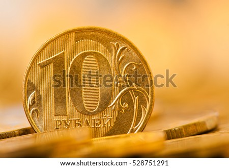 10 rubles coins, close up
