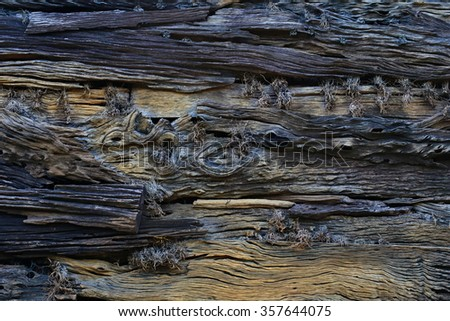 ruin and weathered plank wood wall texture timber wood wall texture background - stock photo