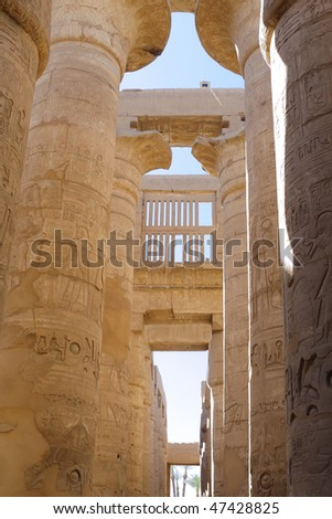 Ruin of the Karnak Temple Complex. Pillars of the Great Hypostyle Hall . Luxor, Egypt - stock photo