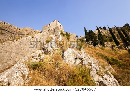 ruins of the ancient city of Kotor, located in the territory of Montenegro - stock photo