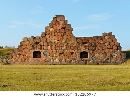 Ruins of the fortress Bomarsund  (1832-1854). Remains of a large wall - stock photo