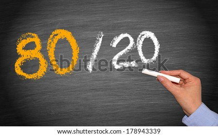80 / 20 Rule - Marketing and Economy Concept - stock photo