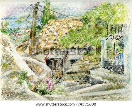 Run-down rural house in Greek village. Pastel landscape. - stock photo