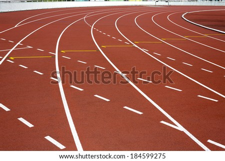 Running Track and Lanes - stock photo