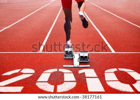 Running track on start with numeral of new year