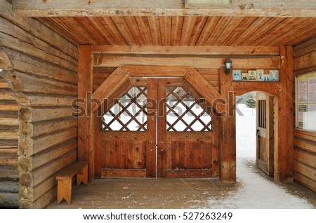 05.11.2016.Russia.Saint-Petersburg.A wooden room in a monastery.This is the entrance to the monastery compound.