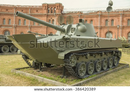"RUSSIA; SAINT-PETERSBURG - JULY 8- 120-mm self-propelled gun 2S9 ""Nona-S"" (1981). Weight, kg: 8500-installation, shell-17 in military history museum on July 8; 2015 in St. Petersburg"