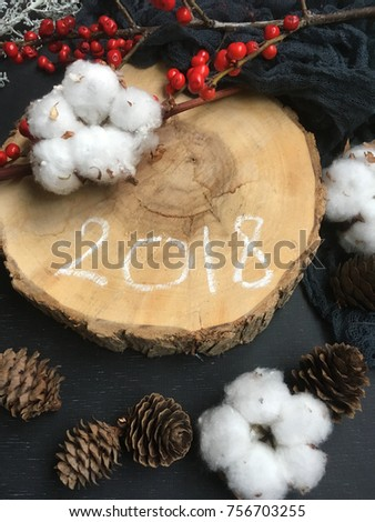 2018. rustic new year 2018. christmas wallpaper with rustic natural decorations
