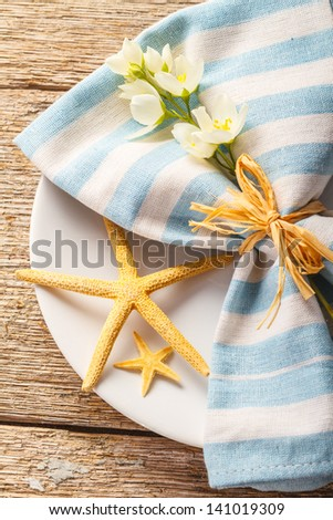 Rustic summer table setting - stock photo