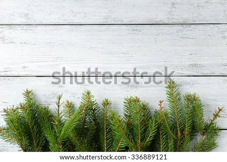 rustic xmas background with spruce, christmas - stock photo