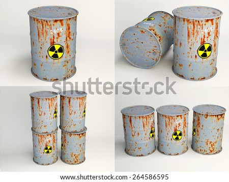 Rusty metal barrel with sign of radiation - stock photo