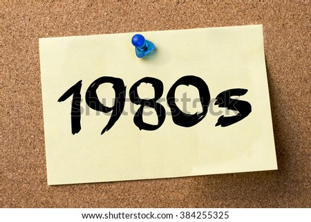 1980s - adhesive label pinned on bulletin board - horizontal image