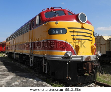 1940's American built Diesel Electric Locomotive in a beautiful futuristic streamlined body. The highest technology at that time with over 3,000 horsepower from its V16 powerplant. - stock photo