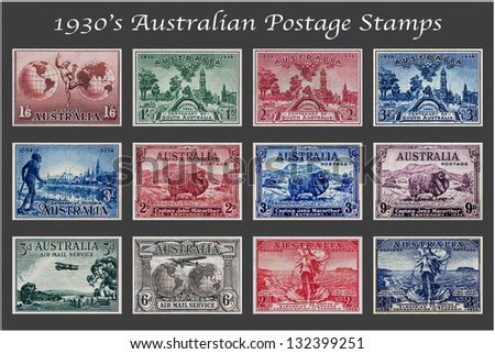 1930's Australian Postage Stamp Collection - stock photo
