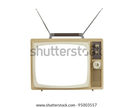 1960's blank screen portable television with antennas up.  Isolated on white. - stock photo
