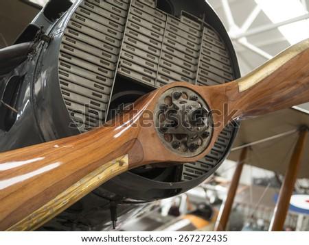 1930s Bristol F2b biplane propeller at the Shuttleworth Collection,Bedfordshire,UK .taken 26/09/2008 - stock photo
