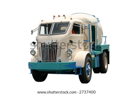 1930s cement truck isolated on white - stock photo