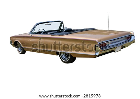 1960s convertible car with the top down and facing the rear corner, isolated on white.