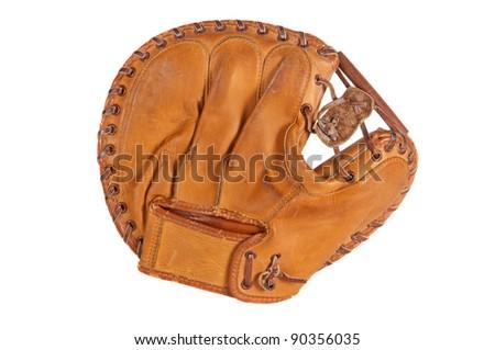 1960s era catcher's mitt, white isolation. - stock photo