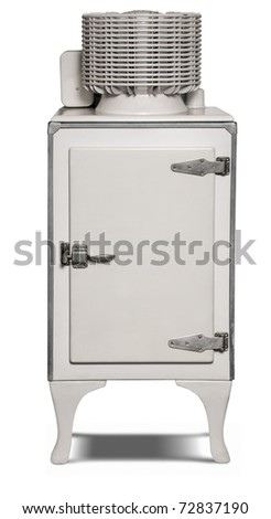 1930's era electric refrigerator isolated on white with a clipping path - stock photo