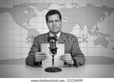 1950's era TV news anchor reading the news - stock photo