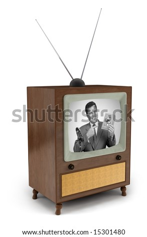 1950's era TV with black and white commercial showing a man pitching a product - stock photo