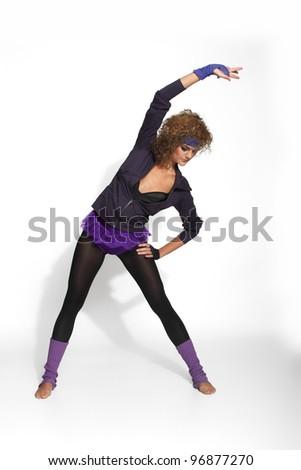 80's Fashion woman exercising - stock photo