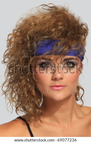80's Fashion woman  over gray background - stock photo