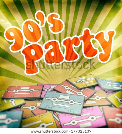 90s music party vintage poster design. Retro concept on old audio cassettes - stock photo