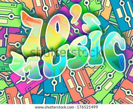 70s music retro concept. Vintage poster design - stock photo