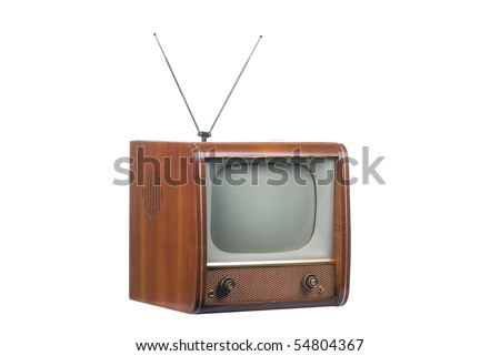 1960's old television on a white background - stock photo
