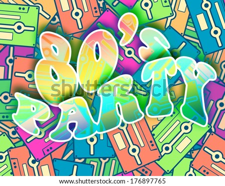 80s party retro concept. Vintage poster design - stock photo