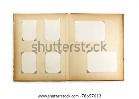 1950s photo album, opened with six pictures, isolated on white. - stock photo