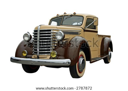 1940s pick up truck, isolated on white - stock photo