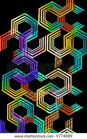 80's pop art multi ring octogon geometric design with neon fluorescent color fill - stock photo