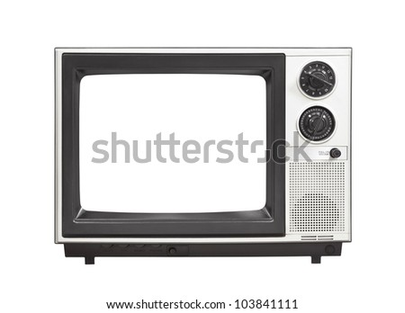 1980's portable television set with empty screen isolated . - stock photo