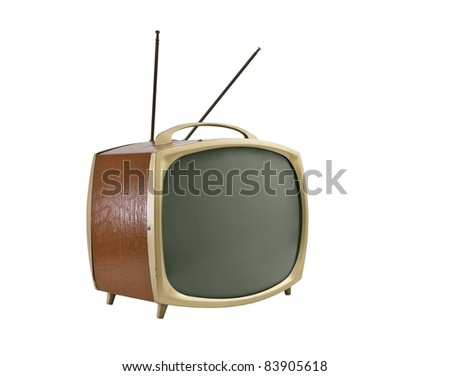 1950's portable television with antennas.   Side angle, isolated on white. - stock photo
