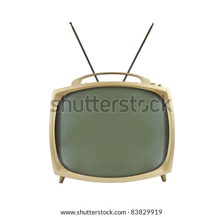 1950's portable television with antennas up.  Isolated on white. - stock photo
