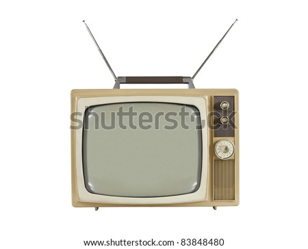 1960's portable television with antennas up.  Isolated on white. - stock photo