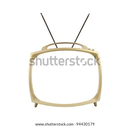 1950's portable television with antennas up.  Isolated with blanked screen. - stock photo