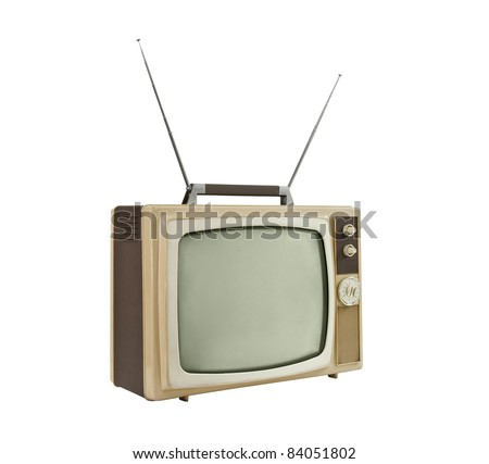 1960's portable television with antennas up - side angle.  Isolated on white. - stock photo