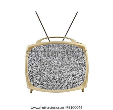 1950's portable television with static screen and antennas.  Isolated on white. - stock photo