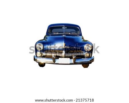 1950s sedan, isolated on white - stock photo