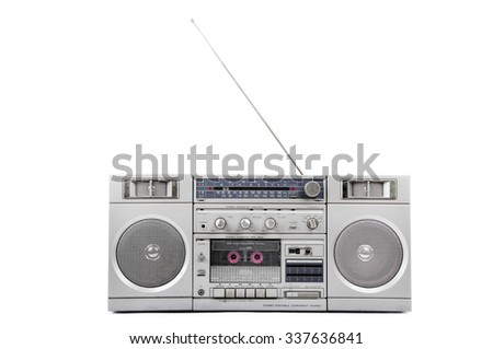 1980s Silver radio boom box with antenna up isolated on white. front - stock photo