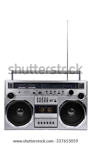 1980s Silver retro radio boom box with antenna up isolated on white background - stock photo